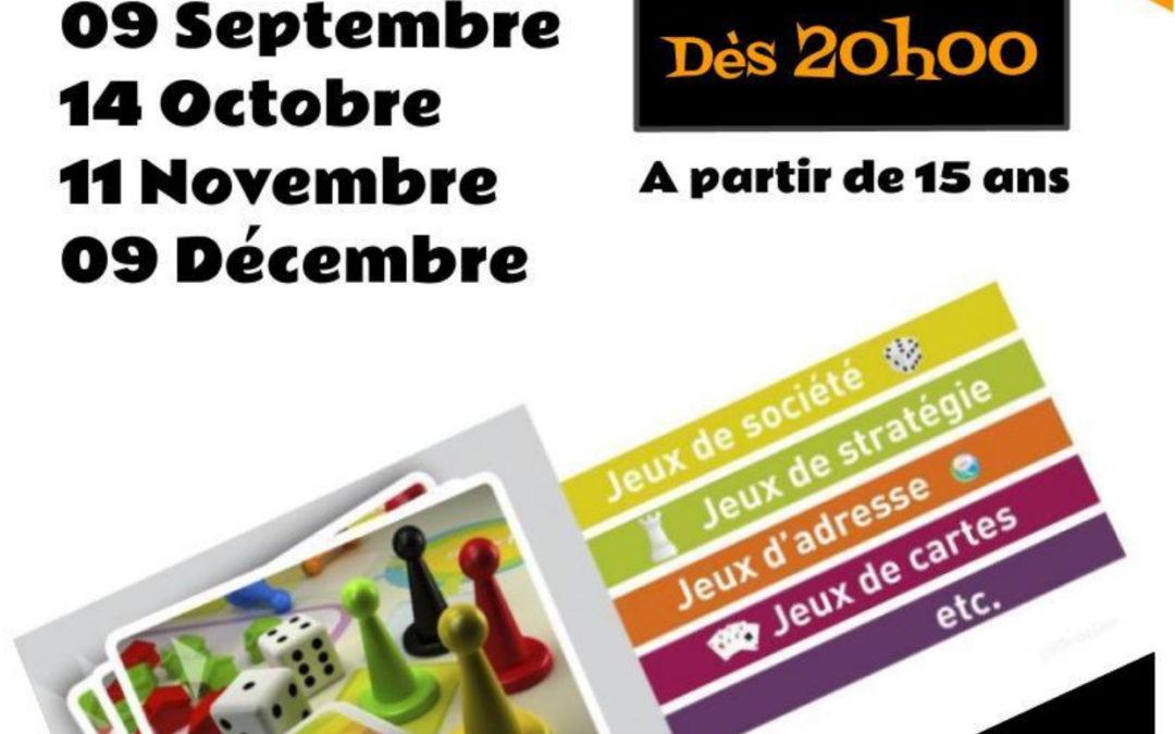 Soirée-jeux: 14 octobre